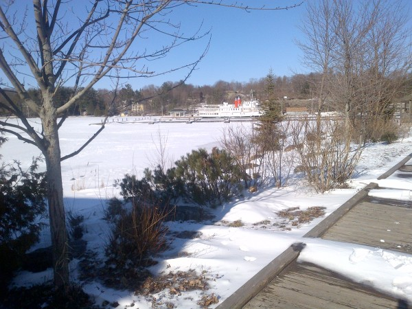 Boat in frozen bay