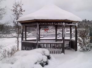 Gazebo at Gravenhurst Wharf covered in snow