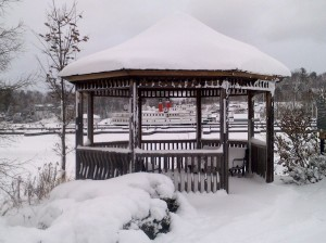 Gazebo at Gravenhurst Wharf covered in snow
