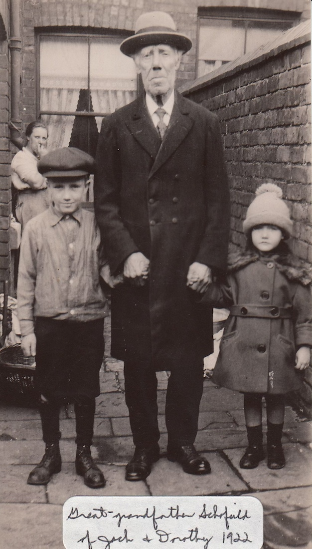 Great grandfather with boy and girl